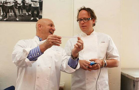 Colicchio & Wise, perhaps crafting new recipies. Image by Metromix.