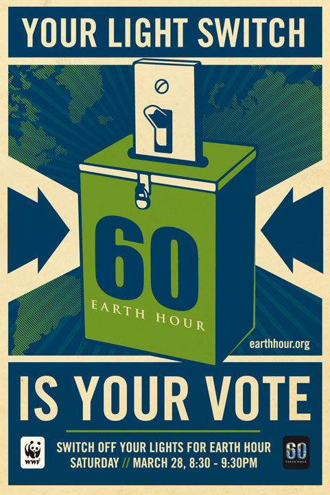 Earth Hour posted, designed by Shephard Fairey (click to download).