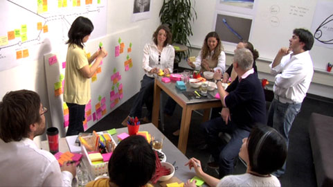 Post-it-aided design thinking at IDEO.
