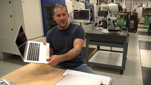 Jonathan Ive and one of his aluminum offspring.