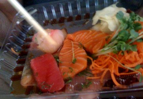 Raw sashimi. Still raw, not so vegan.