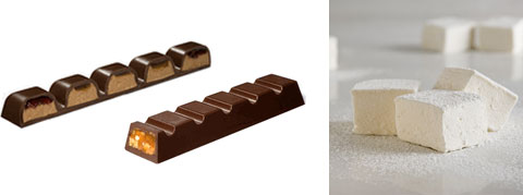 Peanut Butter Candy Bar, Caramel Nut Candy Bar & Passion Fruit Marshmallows.