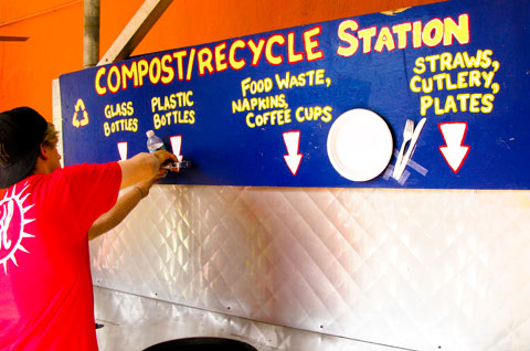 Composting and recycling station.