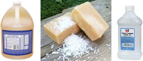 Liquid soap, bar soap, flake soap & alcohol