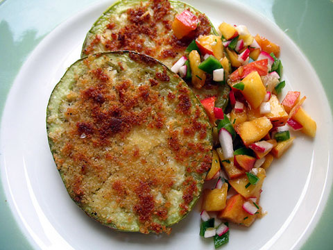 Fried green eggplant with peach salsa.