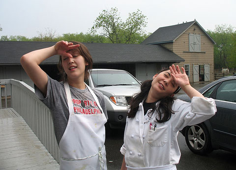 Hapa Kitchen girls, Cathy Erway and Akiko Moorman, relax out back after toiling in the Queen County Farm kitchen all day.