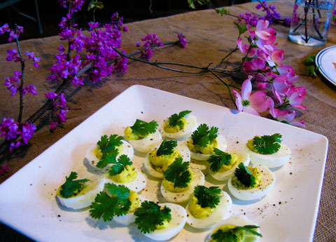 Fantastic Green Curry Deviled Eggs that I got to enjoy (at least six of them) at the Hapa Kitchen May Day dinner.