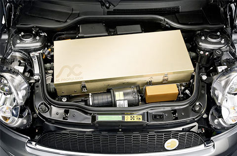 The engine, made by AC Propulsion, takes up most of the space under the hood.