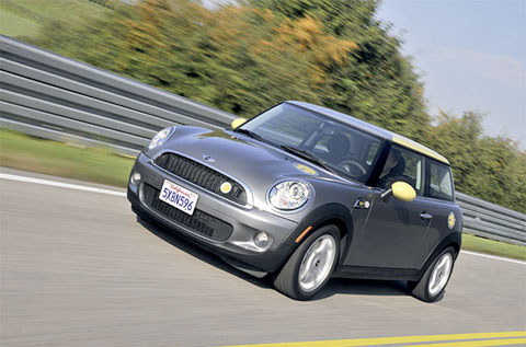 The MINI E gets up to 156 miles per 3-hour charge under ideal driving conditions.