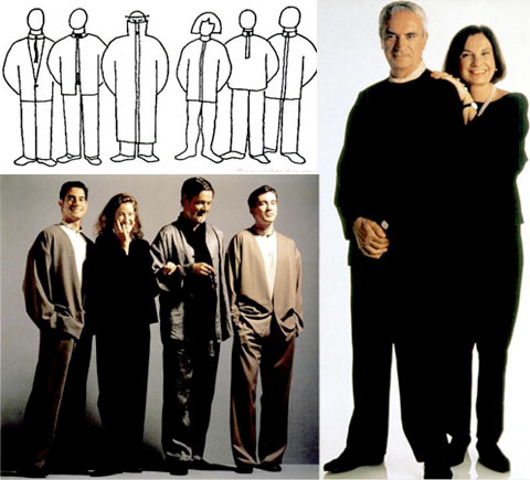 The utalitarian Vignelli clothing line, shown as sketches, on models and as worn by Massimo and Leyla. Image from Design is One,