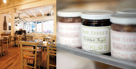 The cozy cafe & jars of pickles.