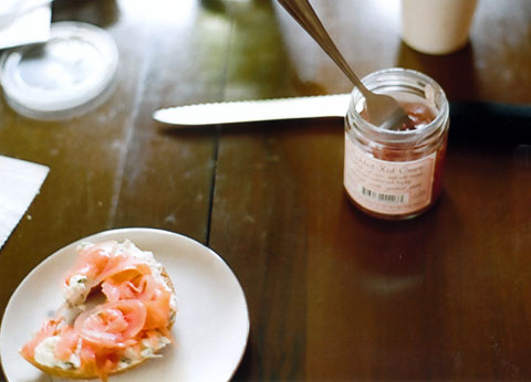 Pickled red onion. Works well on a bagel...
