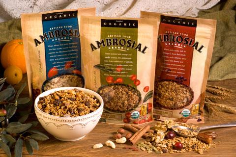 Ambrosial granolas: Organic Athenian Harvest Muesli Fiber Boost, Organic Grecian Grove Antioxidant Blend Granola & Organic Venetian Vineyard Omega-3 Plus! Granola