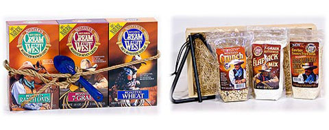 Three Cowboys And A Rope: Roasted Ranch Oats, Roasted Wheat & Roasted 7-Grain, all roped up with an enamel spoon. Come And Get It: hearty 7-Grain Buttermilk Flapjack Mix, Montana Crunch, Seasoned Breading Mix, packaged in a wooden crate, complete with dinner bell!