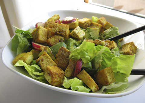 Marrying my long-time affinity for tofu and curry with my new CSA ingredients. Salad with curried tofu and radishes.
