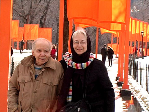 Herb & Dorothy Vogel at the Christos' The Gates in Central Park.