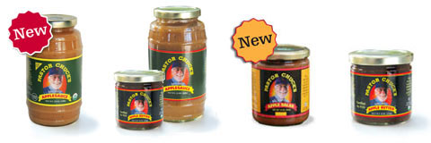 Organic Applesauce (New!), Mix & Match set of Applebutter & Applesauce, Organic Apple Salsa (New!) & Organic Apple Butter.