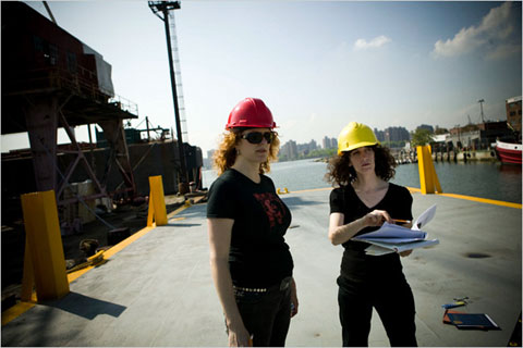 Artists Alison Ward and Mary Mattingly during the early phases of construction of Waterpod™, GMD Shipyards, Brooklyn Navy Yard, 2009.