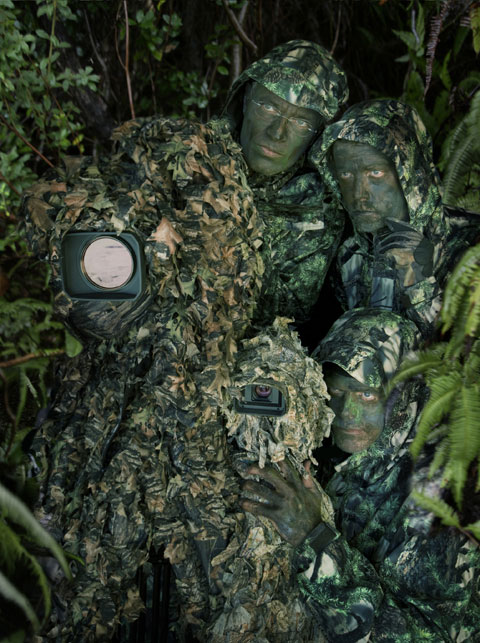 Psihoyos, Hambleton & Chisholm, in full camouflage.