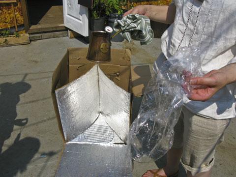 DIY solar cooker.