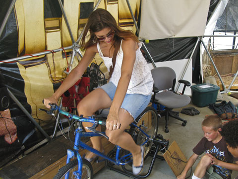 """Charging a drill battery on a stationery bike. Kids: """"You're pedaling too slow!"""""""