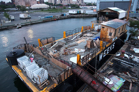 Construction on Waterpod™ at the GMD Shipyard in the Brooklyn Navy Yard. Photograph by Mira Hunter.