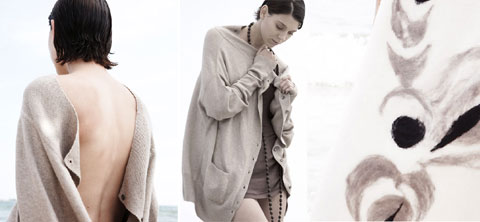 Knitwear is made in Nepal using grade 'A' cashmere and silk yarn and low impact high quality Swiss dyes. Pieces are designed to be cocooning, easy, sexy and classic with a twist.