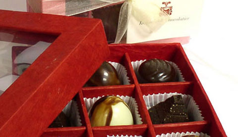 Knipschildt chocolates come packaged in deliciously red boxes.