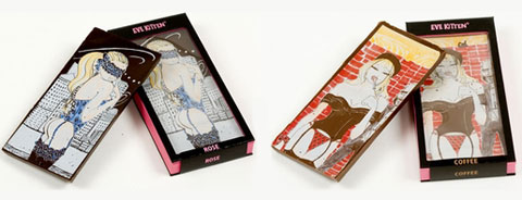 Eve Kitten chocolate bars - Dark Chocolate & Rose and Milk Chocolate & Coffee.