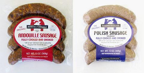 Andoille Sausage & Polish Kielbasa.
