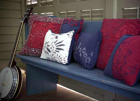 Besides pillows, Alabama Chanin also makes chairs, lighting, quilts and other objects.