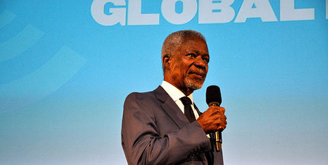 Former UN secretary-general Kofi Annan spoke at the event.