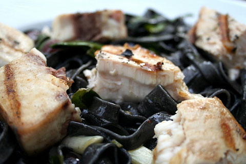 "Squid ink pasta with swordfish (aka ""octopus pasta"")."