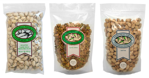 Roasted lightly salted, lightly salted kernels & salt free pistachios.