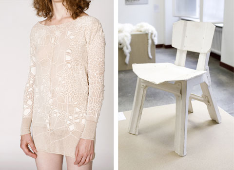 Slow design textiles by Marie-Ilse Bourlanges and 35 layer paper chair by Jeroen Wand.