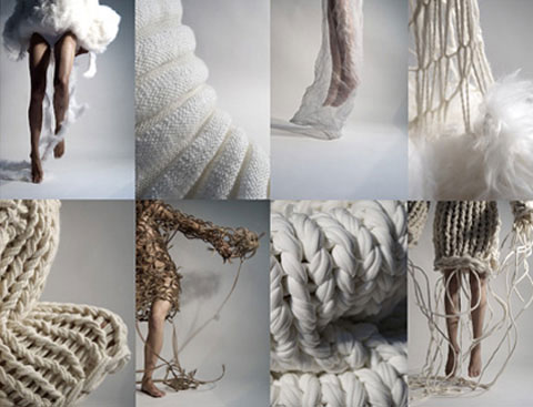 Nanna van Blaaderen knit textile experiments exhibited in 'Beauty Can Save Our World'