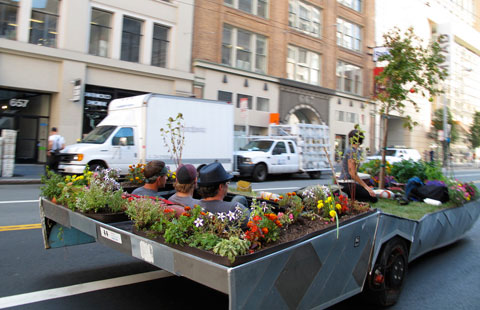 Rebar's PARKcycle, a pedal-powered mobile micro-park. Photo by sfbike, Creative Commons.