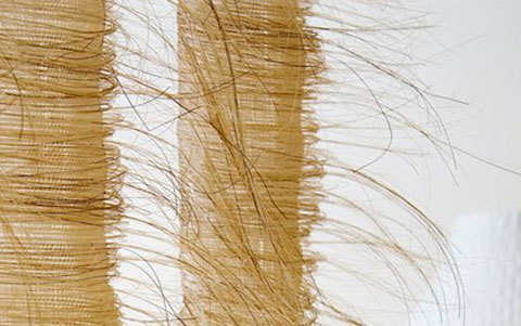 Marianne Kemp's woven horsehair textiles inspired by travels and research on sustainability in the Far East, specifically Mongolia.