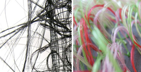 Detailed view of Marianne Kemp's intricate knotting and looping process of fiber in the creation of her horsehair woven surfaces and textiles.