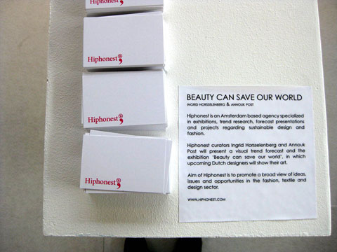 Hiphonest display and exhibition statement for 'Beauty Can Save Our World' at The Key (Berlin Fashion Week).