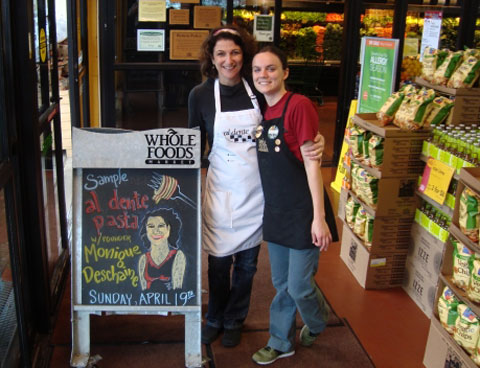 Deschaine with an employee at Whole Foods in Evanston.