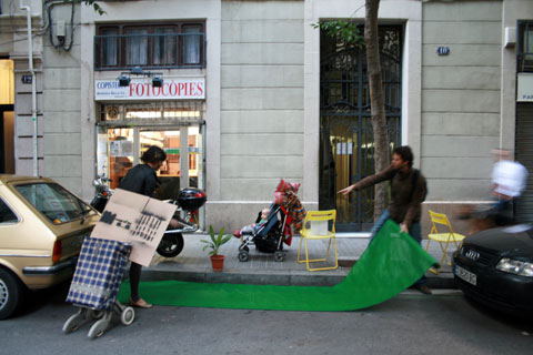 PARK(ing) Day Barcelona. Photo by noraes, Creative Commons.
