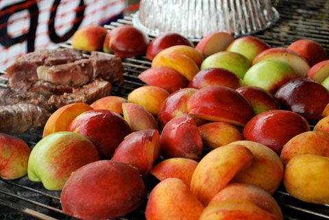 Peaches on the grill.