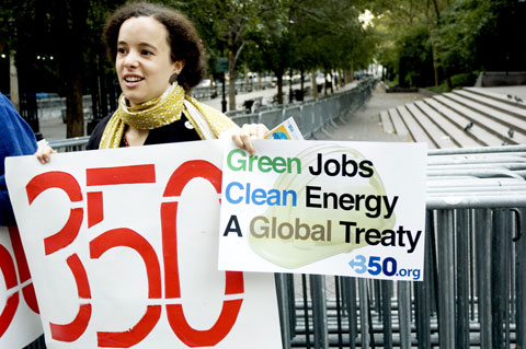 Green Jobs. Clean Energy. A Global Treaty. Photo by Shadia Fayne Wood.