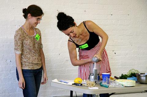 Basic Raw Food Workshop with Karen Yacobucci at the Brooklyn Skillshare. Photo by edlabdesigner, Creative Commons.