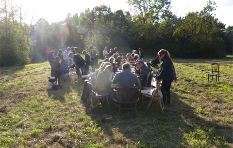 Harvest dinner in the field.