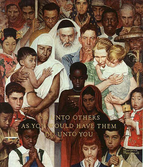 Do unto others as you would have them do unto you. Compassion across nationality, ethnicity and religion, as depicted by Norman Rockwell.