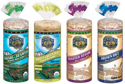 Rice Cakes: Organic Tamari with Seaweed, Organic Sweet Green Tea, Eco farmed Toasted Sesame & Eco farmed Brown Rice.