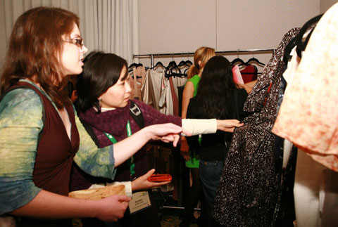 Checking out amazing sustainable clothing in the Ecofabulous lounge, a showcase of fabulous eco fashion. Who ever said you had to choose between style and principles?