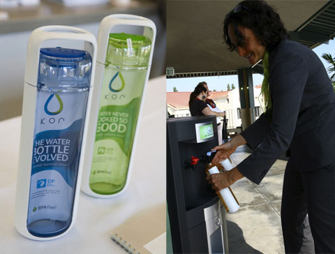 Left: Kor hydration vessels. Right: UCLA Sustainability Coordinator Nurit Katz fueling up.